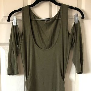 TART Cut Shoulder Olive Ruched Dress